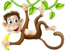 Monkey swinging with banana Stock Illustration