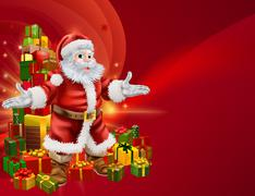 Santa and presents background Stock Illustration