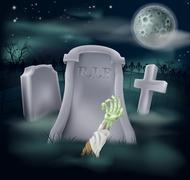 zombie grave illustration - stock illustration