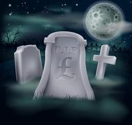 pound sterling grave concept - stock illustration