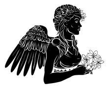 Stylised angel woman illustration Stock Illustration