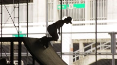 Thai inline skater at skatepark, Bangkok - 2 Stock Footage