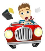 Businessman driving car fast Stock Illustration