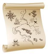 Pirate treasure map Stock Illustration