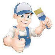 cartoon painter decorator - stock illustration
