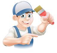 painter decorator pointing - stock illustration