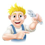 cartoon plumber or mechanic pointing - stock illustration