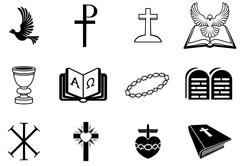 christian religious signs and symbols - stock illustration