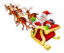 Cartoon christmas santa claus sled Piirros