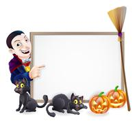 halloween dracula sign - stock illustration