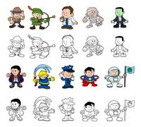 cartoon characters set - stock illustration