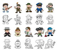 Cute cartoon people set Stock Illustration