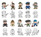 Stock Illustration of cute cartoon people set