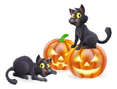Halloween cats and pumpkins Piirros