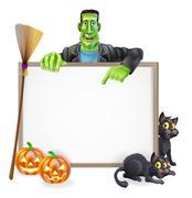 Frankenstein halloween sign Stock Illustration