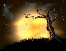 orange halloween moon tree background - stock illustration