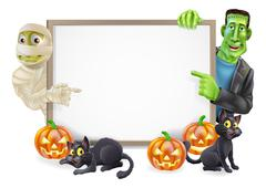 halloween sign with mummy and frankenstein - stock illustration