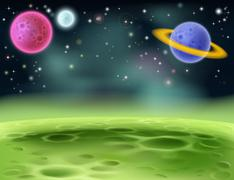 Outer space cartoon background Piirros
