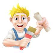 qualified painter decorator - stock illustration