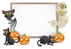 halloween sign with mummy and bat - stock illustration