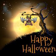 orange halloween vampire bat background - stock illustration