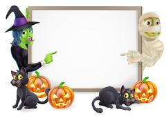 mummy and witch halloween sign - stock illustration