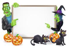 Halloween witch and frankenstein banner Stock Illustration