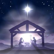 Christmas manger nativity scene Stock Illustration