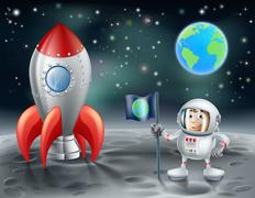 Cartoon astronaut and vintage space rocket on the moon Stock Illustration