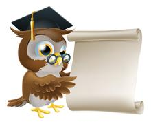 owl with scroll document - stock illustration