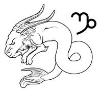 capricorn zodiac horoscope astrology sign - stock illustration