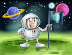 Astronaut outer space cartoon Piirros