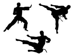 Karate martial art silhouettes Stock Illustration