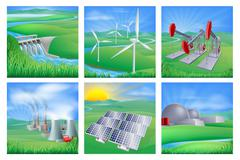 Power and energy sources Stock Illustration