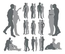 Stock Illustration of couple silhouettes pregnant woman