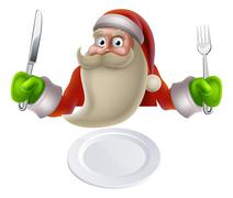 santa eating christmas dinner food - stock illustration