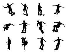 Skateboarder silhouettes Stock Illustration