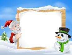 santa snowman cartoon sign - stock illustration