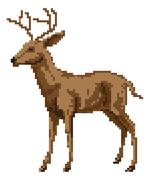 Pixel art deer illustration Stock Illustration