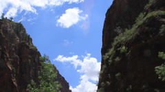Zion National Park canyon tilt down to shrubs Stock Footage