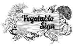 Vintage vegetable produce sign Stock Illustration