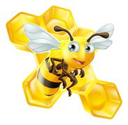 cartoon bee and honey comb - stock illustration