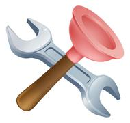crossed plunger and spanner tools - stock illustration
