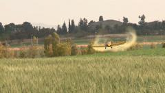 Aircraft. Yellow agriculture aircraft , crop duster  with sound - stock footage