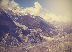 beautiful vintage mountain landscape, himalayas in nepal. - stock photo