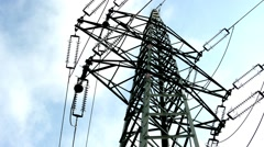 pylon high voltage - blue sky - stock footage