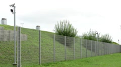Safety fence with cameras  Stock Footage