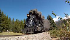 Steam Train Low Approach Stock Footage