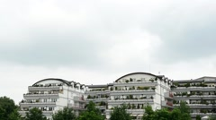 Apartment with nature and cloudy sky Stock Footage