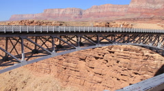 Pan of Navajo Bridge over Marble Canyon Stock Footage